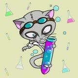 有管动画片的逗人喜爱的猫科学家 免版税图库摄影