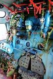 有管子和测量仪的蒸汽引擎从蒸汽机车 库存图片