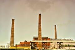 有管子的工厂 库存照片