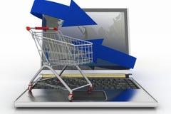 有箭头和购物车的膝上型计算机 免版税库存照片