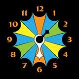有箭头的色的时钟 库存图片