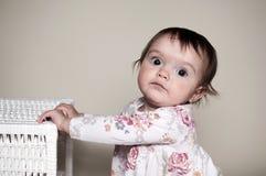 有箱子的女孩 免版税库存照片