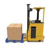 有箱子的现代叉架起货车在白色隔绝的木板台 3d例证 免版税库存照片