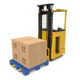 有箱子的现代叉架起货车在白色隔绝的木板台 3d例证 库存图片
