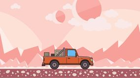 有箱子的生气蓬勃的卡车在树干骑马通过桃红色地球外的沙漠 移动的送货车 股票视频