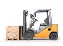 有箱子的铲车在板台 库存例证