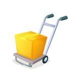有箱子的仓库台车 交付和后勤,运输,运输标志 免版税图库摄影