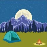有篝火的帐篷在黑暗的夜森林背景 野营与狂放的自然的美好的概念户外 海滩formentera海岛妇女年轻人 休闲, t 向量例证