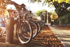 有篮子的城市自行车 库存图片