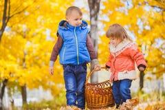 有篮子的孩子在秋天公园 库存图片