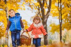 有篮子的孩子在秋天公园 库存照片