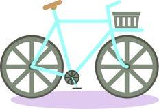 有篮子的平的葡萄酒自行车 向量 旅行卡片的完善的例证 免版税图库摄影