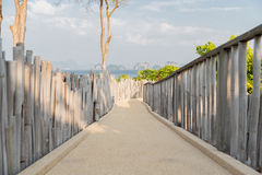 有篱芭的路在海边 库存照片