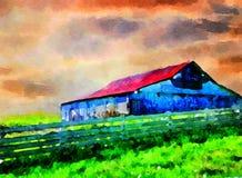 有篱芭的马大农场在肯塔基 库存图片