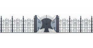 有篱芭的锻铁门在白色背景 3d翻译 免版税库存照片