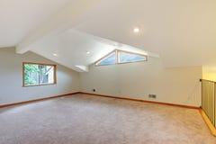 有米黄地毯的大新的空间 免版税库存图片