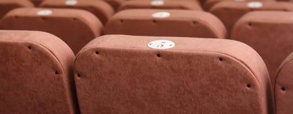 有米黄椅子的空的剧院 查出的背面图白色 免版税库存照片