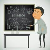 有粉笔板的科学家在实验室 库存照片