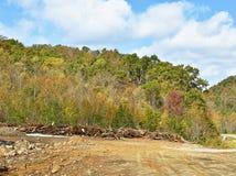 有粗木垫的机械清除的土地 库存照片