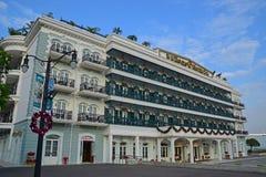 有精妙的建筑学的美丽的岩石旅馆在澳门 免版税库存图片