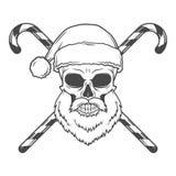 有糖果海报的坏圣诞老人骑自行车的人 图库摄影