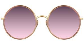 有紫罗兰色透镜和金金属框架的太阳镜 库存图片