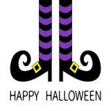 有紫罗兰色镶边袜子和鞋子金黄扣的巫婆腿 愉快的万圣节 逗人喜爱的漫画人物身体局部 2007个看板卡招呼的新年好 Fl 库存例证