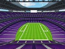 有紫色位子的现代橄榄球体育场 库存图片