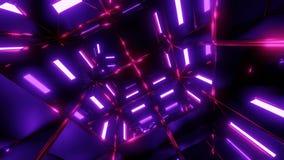 有紫色光和桃红色反射无缝使成环的镜子室 库存例证