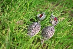 有红宝石的耳环在绿草 免版税图库摄影