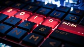 有红灯的键盘在2019数字和输入键 新年度 免版税库存图片