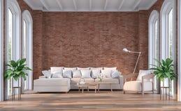 有红砖墙壁的3d现代当代客厅回报 库存例证