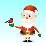 有红腹灰雀的圣诞老人 库存图片