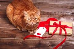 有红色丝带弓的被包裹的葡萄酒礼物盒和在木桌上的礼品券 免版税库存照片