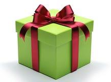 有红色丝带弓的绿色礼物盒 免版税图库摄影