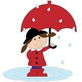 有红色伞的女孩 库存照片
