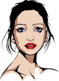 有红色唇膏和蓝色构成的妇女 库存图片