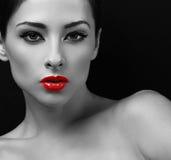 有红色唇膏的性感的构成妇女 美丽的黑色纵向白人妇女 库存照片