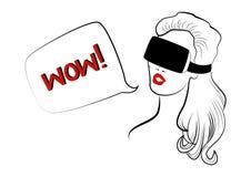 有红色嘴唇的妇女头戴虚拟现实盔甲 图库摄影