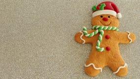 有红色圣诞老人帽子绿色和白色围巾的姜饼人在与写空间的银色背景 免版税图库摄影