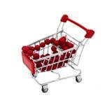 有红色小珠的购物车 库存图片