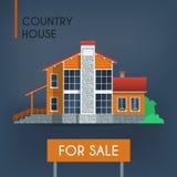 有红色屋顶的乡间别墅 免版税图库摄影
