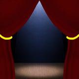 有红色帷幕和阶段照明设备的暗室 库存图片