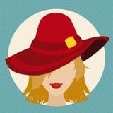 有红色帽子的秀丽Face夫人在平的样式,传染媒介例证 免版税库存图片