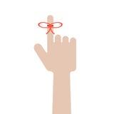 有红色弓的手在食指 库存例证