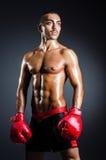 有红色手套的拳击手在黑暗 图库摄影