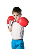 有红色拳击手套的小男孩在被隔绝的白色背景 免版税库存照片