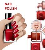 有红色指甲油瓶的手 给钉子polishs做广告的模板 时尚和秀丽例证 边界月桂树离开橡木丝带模板向量 库存照片