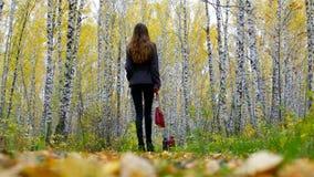有红色提包的亭亭玉立的女孩在桦树公园跟随老妇人 股票视频