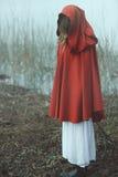 有红色斗篷的妇女在有薄雾的使荒凉的土地 库存图片
